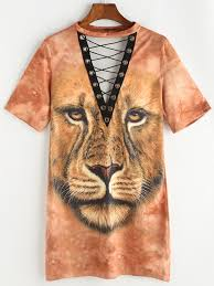 lion print lion print eyelet lace up tee dress shein sheinside