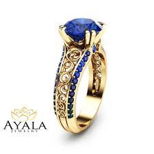 custom rings images 2 carat blue sapphire custom ring 14k yellow gold sapphire ring jpg