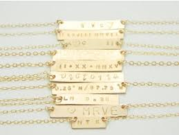 Gold Engraved Necklace Name Plate Necklace Gold Engraved Necklace Bar Necklace