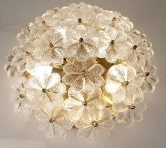 Murano Glass Flowers Floral Sputnik Light Flush Mount Gold Glass