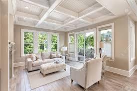 beautiful livingroom beautiful living room with hardwood floors in new luxury home stock