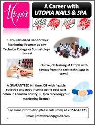 employment at utopia nails u0026 spa kenosha wi 53142