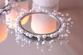 Candle Rings Erzella Pearl Beaded Candle Rings With Coaster The Shop At Bellenza