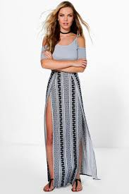 maxi skirt samara monochrome thigh high split maxi skirt boohoo
