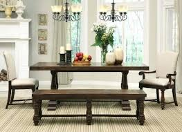 table and bench in country dining room home interiors with