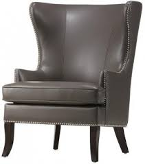 Black Leather Accent Chair Grey Wingback Chair Foter