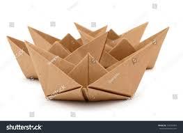Cardboard Origami - set origami boats recyclable cardboard stock photo 124732963