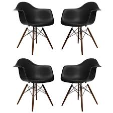 set of 4 eames style daw molded black plastic dining armchair with