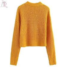 knitted sweater 2018 yellow high neck cable chunky knitted sweater sleeve