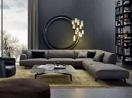 gray corner sofa modern living room interior design gray wall