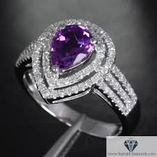 purple diamond engagement rings pear shape amethyst halo shank diamond pave