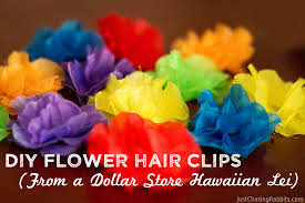 How To Make Flower Hair Clips - diy flower hair clips from a dollar store hawaiian lei just