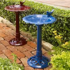 decor set of two freestanding levine resin bird bath fountain for