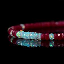 opal october genuine ruby and opal bracelet natural aaa ethiopian opal u0026