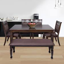 rubberwood orli dining set 1 table 4 chair 1 bench in walnut