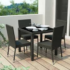 shop corliving park terrace 5 piece river rock black glass patio