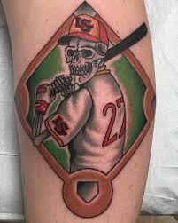 amazing 3d skull baseball player with bat tattoo on leg u2013 truetattoos