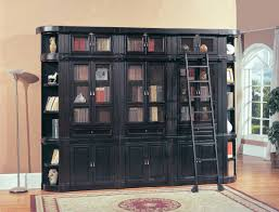 Library Bookcase With Ladder by Corner Ladder Display Bookcase Made Of Wood In Black Finished