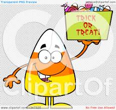 halloween candy background clipart of a cartoon halloween candy corn character holding up a