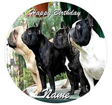 personalised french bulldog birthday cake decoration 7 5 circle