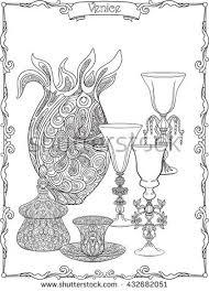 venetian glasses vase outline hand draw stock vector 428121115