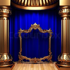 Blue And Gold Curtains Blue Curtains Gold Columns And Frames Made In 3d Stock Photo