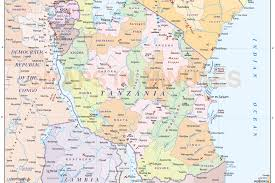 Map Of Tanzania Tanzania Digital Vector Political Country Map First Level