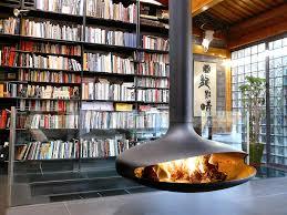 mid century modern hanging fireplace retro interior design