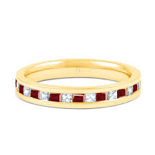ruby eternity ring 18ct yellow gold ruby diamond princess cut eternity ring 0 25ct