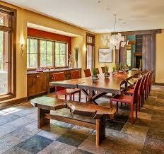 raw natural goodness 50 live edge dining tables that wow live edge bench and dining table paired with colorful red chairs design deep river