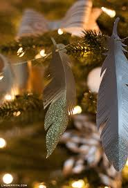 diy paper feather garland and tree ornaments