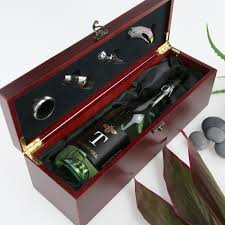 wine set gifts engraved wooden stained corporate wine box set gift corporate