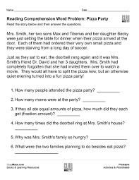reading comprehension word problem pizza party free children u0027s