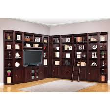 Rolling Bookcase Ladder by Parker House Boston Extended Space Saver Library Wall