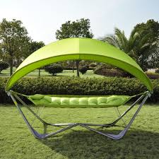 Folding Single Camping Bed Outdoor Single Hammock Canopy Stand Patio Bed Portable Swing