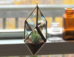 geometric air plant holder stained glass hanging terrarium clear