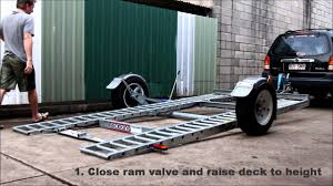raceking car trailers 4 degrees loading without ramps youtube