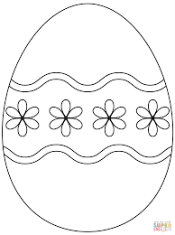 easter egg with simple flower pattern coloring page free