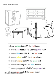 Preposition Practice Worksheets Read Draw And Color Clasa A Iii A Pinterest English
