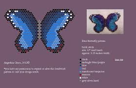beaded blue morpho butterfly pattern pendant pin by angielina