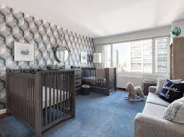 blue and brown twin boys nursery transitional nursery