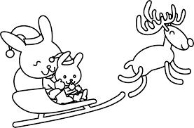 clipart santa bunny coloring