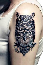 large realistic black owl temporary tattoo body art ideas for