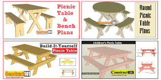 Plans For Building A Children S Picnic Table by Free Picnic Table Plans Construct101
