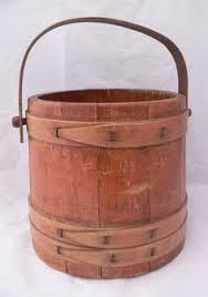 wooden bucket with handle wishing well pail planter or decor