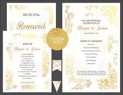 vow renewal ceremony program free gold floral vow renewal invitation