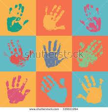 colorful children handprints form circle kids stock vector