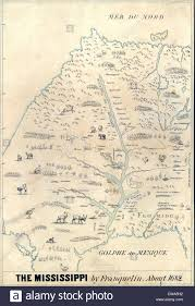 French Map 1682 French Map Of The Mississippi River And Region Showing Stock