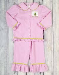 smocked pink christmas tree girls loungewear u2013 stellybelly