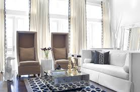 Curtain Ideas For Modern Living Room Decor Gorgeous White Curtains With Navy Trim And Kalah Blue Fabric